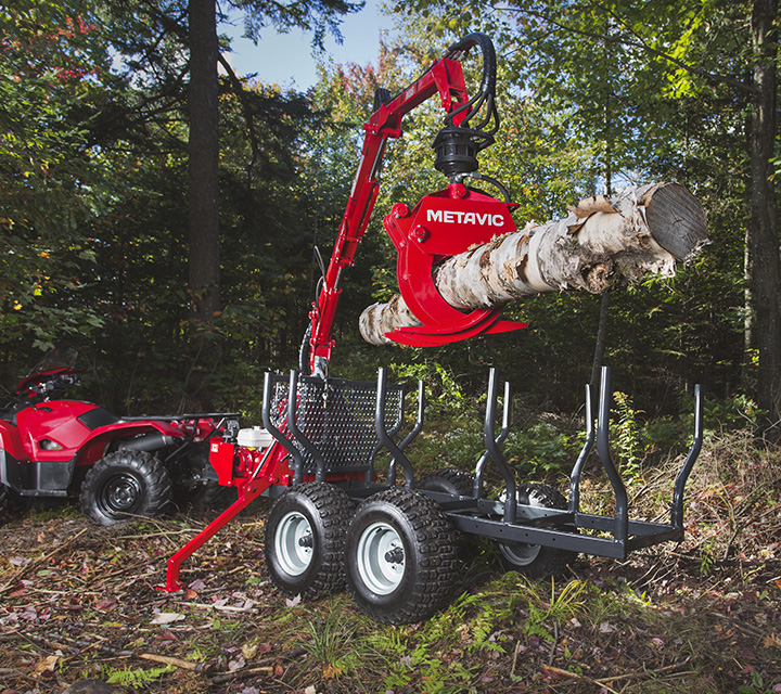 log loadder - chargeuse forestière - remorque forestière vtt - chargeur forestier - chargeuse à bois